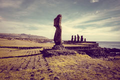 Moais statues, ahu tahai, easter island. Chile Stock Photography