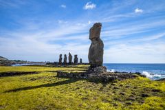 Moais statues, ahu tahai, easter island. Chile Royalty Free Stock Photo