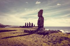 Moais statues, ahu tahai, easter island Stock Image
