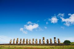 Moais statues on Ahu Tongariki - the largest ahu on Easter Island. Chile stock image