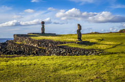 Moais statues, ahu vai ure, easter island Royalty Free Stock Image