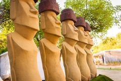 Moais statues in the garden Royalty Free Stock Photos