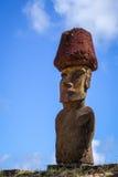 Moais statui miejsca ahu Nao Nao na anakena plaży, Easter wyspa Obrazy Stock
