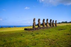 Moais statuy, ahu Akivi, Easter wyspa Zdjęcie Stock