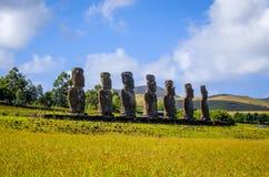 Moais statuy, ahu Akivi, Easter wyspa Fotografia Royalty Free