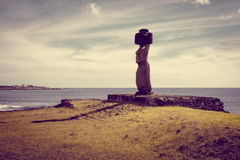 Moais statuy, ahu ko te riku, Easter wyspa Fotografia Royalty Free
