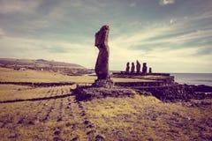 Moais statuy, ahu tahai, Easter wyspa Fotografia Stock