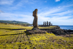 Moais statuy, ahu tahai, Easter wyspa Obrazy Stock