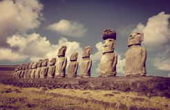 Moais statuy, ahu Tongariki, Easter wyspa Fotografia Stock