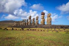 Moais statuy, ahu Tongariki, Easter wyspa Zdjęcie Stock