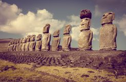 Moais statuy, ahu Tongariki, Easter wyspa Zdjęcia Stock