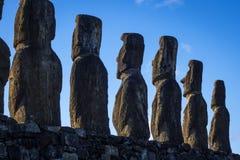 Moais statuy, ahu Tongariki, Easter wyspa Obrazy Royalty Free
