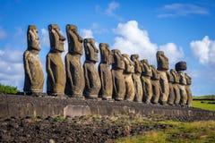 Moais statuy, ahu Tongariki, Easter wyspa Zdjęcia Royalty Free