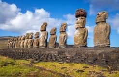 Moais statuy, ahu Tongariki, Easter wyspa Zdjęcie Royalty Free