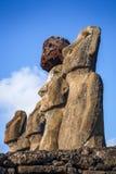 Moais statuy, ahu Tongariki, Easter wyspa Obrazy Stock