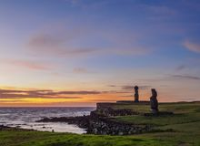 Moais on Easter Island, Chile Royalty Free Stock Image