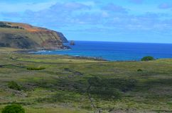 Moais w ceremonialnym estradowym Ahu przy Tongariki plażą, Rapa Nui Wielkanocna wyspa Obraz Stock