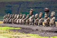 Moais在Ahu Tongariki,复活节岛,智利 免版税库存照片