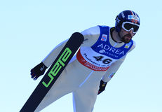 MOAN Magnus (NOR). At the jump in the nordic combinated in Chaux-Neuve ( France ). 14 January 2012. FIS World Cup Stock Photo