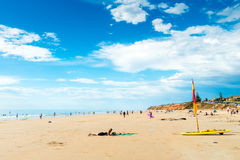 Moana Beach, South Australia. Adelaide, Australia - December 19, 2015: People relaxing and having fun at Moana Beach on a bright warm summer weekend. Moana is a Royalty Free Stock Photography