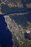 Moana township. Aerial of Moana township and Lake Brunner, West Coast, South Island, New Zealand Royalty Free Stock Photography
