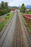 Moana Train Station. Next to beautiful Lake Brunner, South Island, New Zealand Royalty Free Stock Images