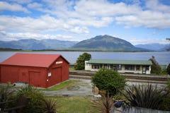 Moana Train Station. Next to beautiful Lake Brunner, South Island, New Zealand Royalty Free Stock Photos