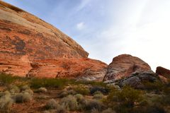 Moapa Valley, Nevada - 2019_01.08: Psychedelic winter desert above Valley of Fire.  stock photos