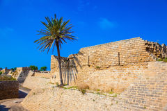 Moat around the ancient Caesarea, Israel Stock Photos