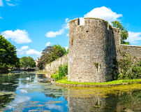 Moat at Bishop`s Palace in Wells stock image
