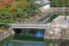 Moat and Bridge at Nijo Castle in Kyoto Royalty Free Stock Photo