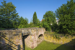 The moat with the bridge of the ruined castle Zavelstein. The moat with the historical bridge of the ruined castle Zavelstein in Bad Teinach Zavelstein. Black Stock Photography