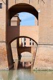 Moat and bridges of Castle Estense in Ferrara Stock Photos