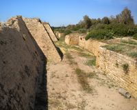 Moat at Caesarea, Israel. Stock Images