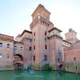 Moat and Castello Estense in Ferrara Stock Photos