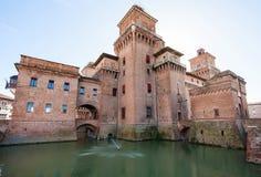 Moat and Castello Estense in Ferrara city Royalty Free Stock Photos