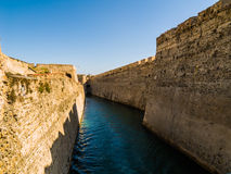 Moat. Castle Moat in Ceuta, the hispanic enclave in Africa Stock Photo