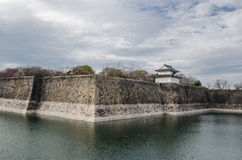 The moat and castle wall of Osaka city Royalty Free Stock Photography