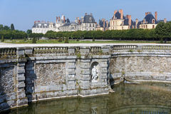 Moat of the chateau de Fontainebleau stock image