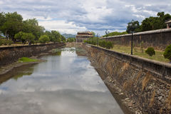 Moat at a Citadel in Hue. Vietnam. Citadel in Hue is enlisted in UNESCO's World Heritage Sites royalty free stock photography