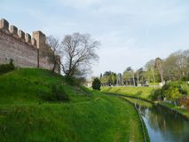 The moat  and  the city wall of Cittadella Stock Photo