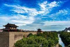 The Moat and the City Wall in Xi`an, China. A street view over the City Wall shot in Xi`an, China Stock Photo