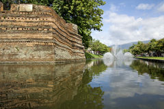 The Moat and Fortress Wall of Chiang Mai Stock Photo