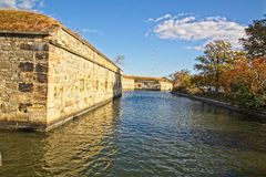 Moat at Ft Monroe Virginia. The moated area of the fort is now know as the Casement Museum. General Lee, Jefferson Davis, Edger Allen Poe and President Lincoln Royalty Free Stock Photos