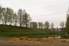 The moat in Galich city. In the cloudy day Royalty Free Stock Photo