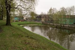 The moat in the Galich city. In cloudy day Royalty Free Stock Images