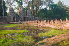 Moat at North Gopura, Preah Kahn, Angkor, Cambodia Royalty Free Stock Photos