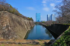 Moat of Osaka Castle in Japan Stock Photo