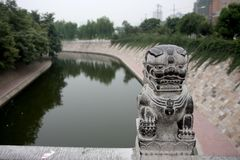China Travel. The moat is seen along the city walls in Xi` An, China on August 27, 2008 Stock Photography
