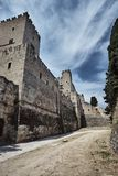 The moat and turrets of the medieval castle of the Joannite Order Stock Photos
